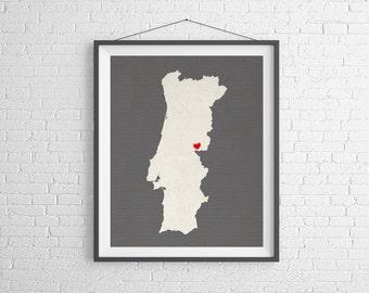 Custom Portugal Silhouette Print, Customized Country Map Art, Personalized Gift, Portugal Print, Heart Map, Portugal Map, Portuguese Poster