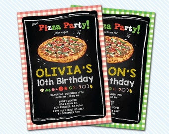 Digital Printable Pizza Birthday Invitation. Pizzeria Party