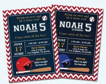 Digital Printable Baseball Birthday Invitation.