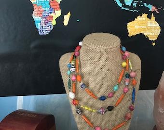 Bronze beaded multi color necklace.