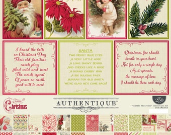 Authentique - CLASSIC CHRISTMAS 12x12 Double-Sided Collection Kit, Christmas Scrapbook Paper