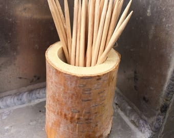 Rustic Birch Toothpick Holder // Wood Toothpick Holder
