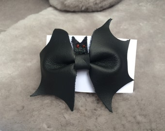 Black Leather Bat Bow