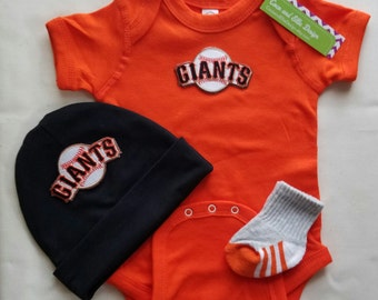 baby boy san francisco giants outfit with hat-sf giants romper-baby boy sf giants outfit-san francisco giants baby gift/giants for baby