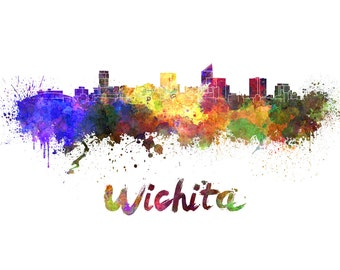 Wichita skyline watercolor canvas,  Wichita Canvas, Wichita wall art, Wichita Canvas Wall Art, Wichita wall art canvas, Wichita Nebraska