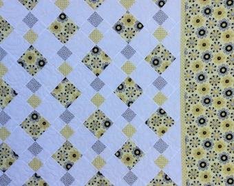 Handmade Diamond Quilt. Yellow. Patchwork Quilt.Handmade Quilt.Home Decor.Grey.Unique.