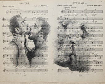 Gay kiss poster 2 pages / Muscle man love / Printing Antique  Russina  sheet music page  decor interior picture ART erotic
