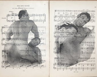 Erotic Gay poster  / Muscular mens love / nude   mens  / 2 pages Printing Antique music book  decor interior picture ART erotic souvenir
