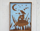 Wood Wall Art, Silhouette, Elf Flute Player, Natural, Reclaimed Wood, Decor, Shabby Chic, Blue Painted,  Art, Kids, Nursery, Fantasy