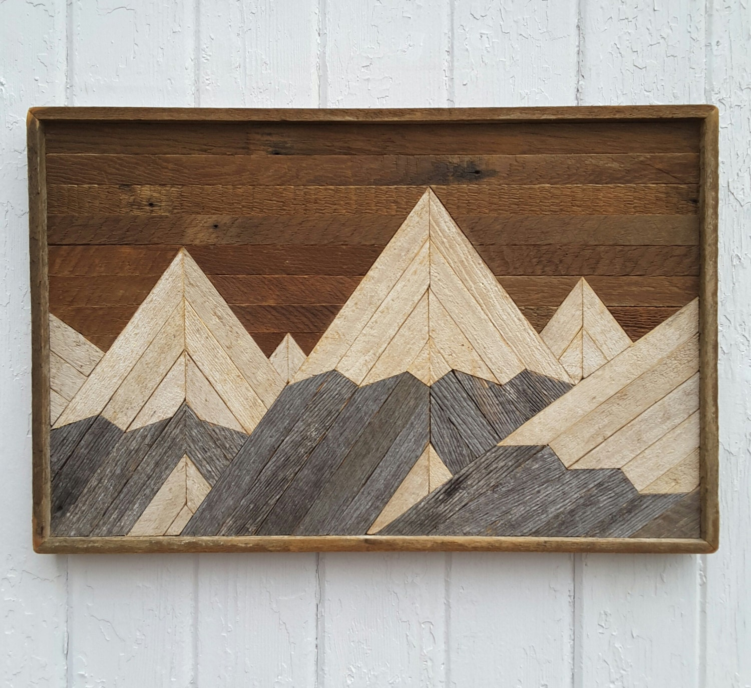 reclaimed wood wall art mountain range lath art by pastreclaimed. Black Bedroom Furniture Sets. Home Design Ideas