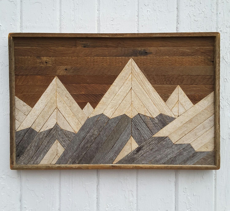reclaimed wood wall art mountain range lath art by. Black Bedroom Furniture Sets. Home Design Ideas