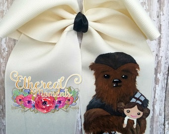 Chewbacca holding Princess Leia doll, hand painted cheer bow, painted hair bow, hair accessory, girl accessory, cosplay, dress up