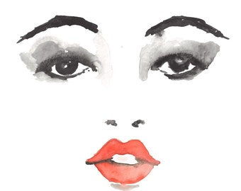 Red Lips Watercolor Painting