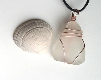 Sale - Seaglass Pendant wirewrapped in Rose Gold Plate.
