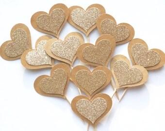 Champaign glitter cupcake toppers, Champaign gold heart cupcake toppers, cupcake picks, cupcake toppers, i do cupcake toppers, set of 12
