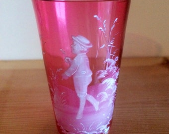 Delicate Mary Gregory Pale Cranberry Small Tumbler Hand Painted with Enamel Boy
