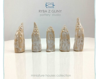 Five winter snow Houses - miniature pottery houses, Ceramic houses, Small clay houses, Tiny house.