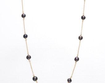 1980s Natural Tahitian Pearls 14k Gold Vintage Necklace, VJ #883
