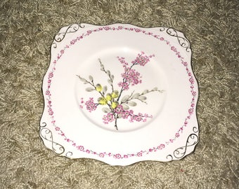 Beautiful Vintage Floral 'April Beauty' Pink Blossom Design Tuscan Fine English Bone China Plate!
