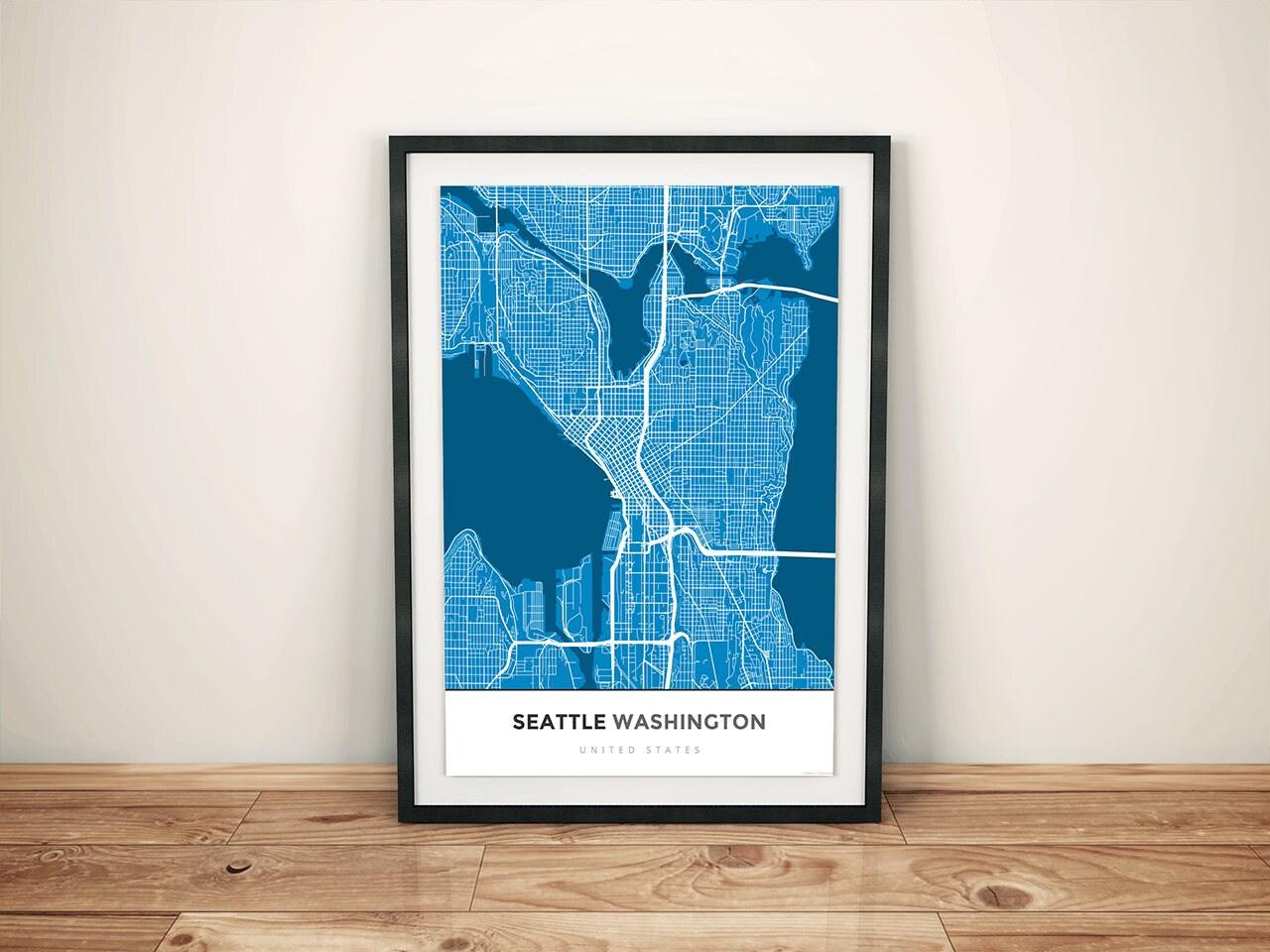 Premium Map Print of Seattle Washington Simple Blue Contrast