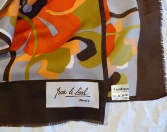 scarf vintage 60 / 70's Orange rose Yvan LE Gael Paris