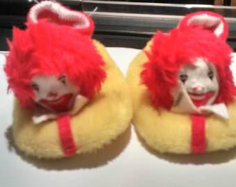 Vintage Ronald McDonald children's slippers 1977