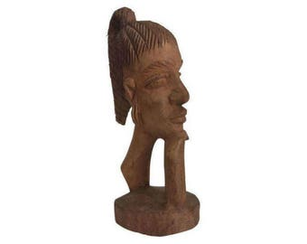 Wooden Carved Head Sculpture