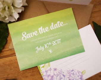 Hand painted watercolour Hydrangea & Roses, save the date postcard on textured laid card.