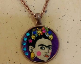 Frida kahlo necklace - simple pendant necklace with bronze tone chain - frida jewellery - frida gift