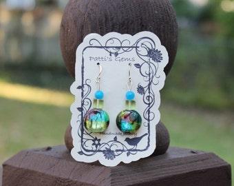 Blue Jade, Green Quartz, and Mosaic Glass Bead SS Earrings