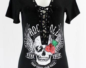 Trendy Rock And Roll Skull LAce Up Tee