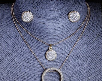 Hot Fashion Gold Plated Round Shining Austrian Crystal Pendant Necklace+ Earrings Wedding Jewelry Sets