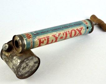 Vintage 1940's FLY-TOX bug spray tin tool