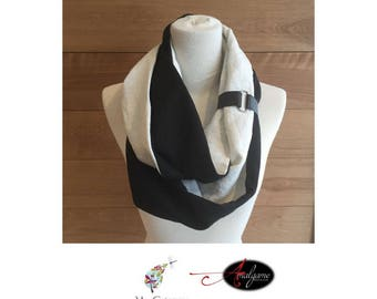 Scarf black linen and leather bracelet