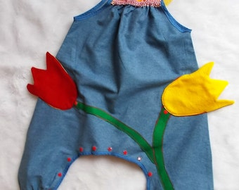 "Made in France. Girl overalls. ""The little planter.."". Unique piece"