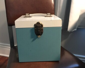 Vintage Metal 45 Record Box with Lucite Handle