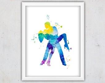 Tango Dance Watercolor Print, Tango Dancers Art Print, Digital Download Tango Couple Print, Watercolor Wall Print, Blue Lilac Printable Art