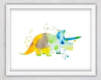 Dinosaur Print, Dinosaur Poster, Triceratops Print, Digital Print, Animal Art Print for Nursery, Modern Print Kids, Instant Download Nursery
