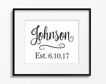 Last Name Printable/Established Date Print/Digital/Wedding Print/Anniversary Gift/Wedding Gift/Last Name Family Wall Art