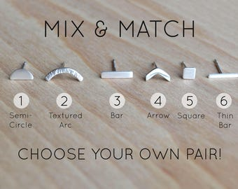 Mix and Match Sterling Silver Studs | Silver Line Earrings | Small Stud Earrings | Bar/Arrow Earrings | Chevron Ear Studs