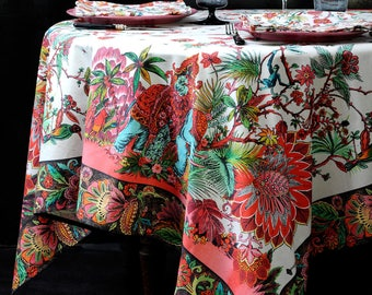 Tablecloth square 160 cm x 160 cm the multicolored Indies - 100% cotton higher