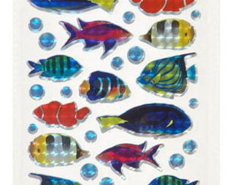 Holographic Glitter Fish Stickers