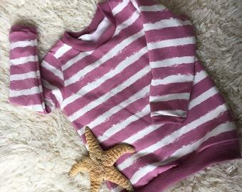 Beach Sweater, Organic Jersey, Dusky Pink Stripes