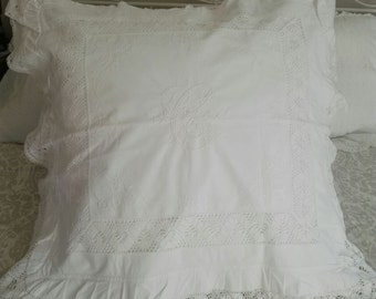 C Monogramed Euro Sham ~ Pillow Cover ca1940