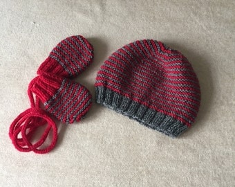 Baby's hand knitted, wool, hat and mitten set, in red and grey stripes, suitable for a boy or girl, (0 - 3 months)