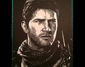 Nathan Drake Papercut Portrait
