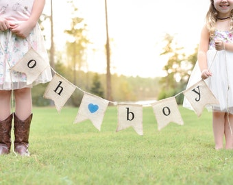 Oh Boy Burlap Banner - Baby Shower Decorations for Boy - Gender Reveal Party - Baby Announcement