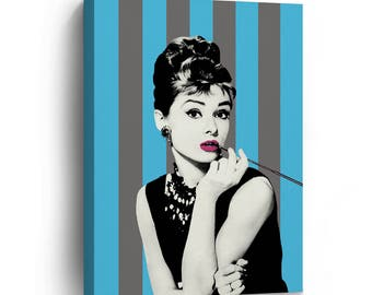 Audrey Hepburn Striped Background Blue and Grey Pop Art Canvas Print Home Decor /Breakfast at Tiffany's/Gallery Wrapped Canvas Art Stretched