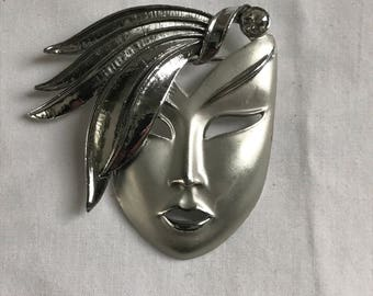 Vintage Silver Tone Mask Brooch, Face, Rhinestone, Retro, Estate Jewelry