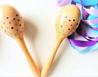 Wooden Maracas For Kids - Musical Instrument - Montessori Music Toy - Toddler Gift - Baby Rattle - Baby Shower Gift - Easter Basket Stuffers
